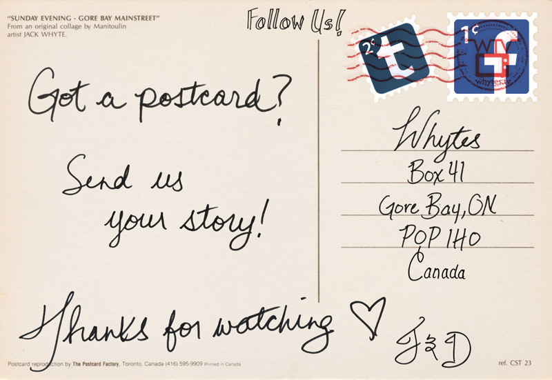 Whytes Online - Enjoying Postcards - Invitation - Audience Participation - Jack and Dylon Whyte